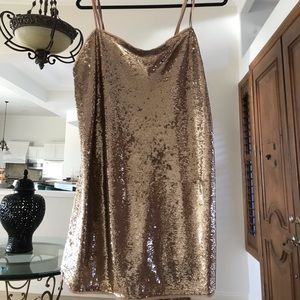 Free people gold tank mini dress! Only worn once
